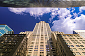 The architecture of the Chrysler Building in Manhattan stands out