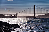 The Golden Gate Bridge in the Bay Area of San Francisco is one of the landmarks of the USA