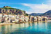 View of Cefalu historic district, Cefalu, Sicily, Italy