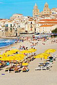 Cefafu beach and seafront, Cefalu, Sicily, Italy