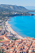 Cefalu town and coastline, elevated view, Cefalu, Sicily, Italy