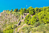 9th century temple of Diana, megalithic structure on slope of La Rocca, Cefalu, Sicily, Italy