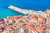 Cefalu town, top view, Cefalu, Sicily, Italy