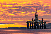 Oil rigs, drilling platforms in maintenance, Cromarty Firth, Scotland UK