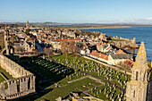 St. Andrews Cathedral ruin and graveyard, view from tower, Fife, Scotland, UK