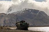 Landed shipwreck, Old Boat of Caol, Loch Eil, Ben Nevis, Scotland, UK