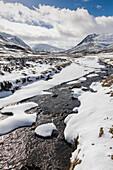 Glen Clunie in the snow, winter Royal Deeside, Braemar, Aberdeenshire, Scotland, UK