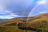 Rainbow, Cairngorm Mountains, Highlands, Highlands, Heath Blossom, Scotland, UK