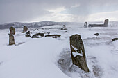 prehistoric Tomnaverie stone circle in the snow at Tarland, Aberdeenshire, Scotland, UK