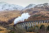 "Steam train ""Jacobite Express"" under smoke, Glenfinnan Viaduct, Highlands, Scotland, UK"