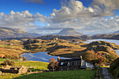 Panorama over Loch Inchard to Ben Arkle with, Sutherland, Scotland UK