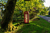 Lonely red telephone box on country road, west coast, Scotland UK