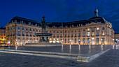 Place de la Bourse, stock exchange square at night, Bordeaux, France