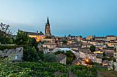 Old town of Saint Emilion, rock church, Unesco world heritage, France