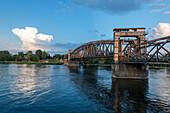 Historic lift bridge, former railway bridge, Magdeburg, Saxony-Anhalt, Germany
