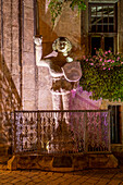 Illuminated Roland statue in front of the historic town hall, World Heritage City of Quedlinburg, Saxony-Anhalt, Germany