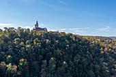 Falkenstein Castle in autumn, Harz, Saxony-Anhalt, Germany