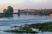 Historic lift bridge, morning fog on the Elbe, Magdeburg, Saxony-Anhalt, Germany