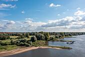 Elbe, groynes on the Elbe, Magdeburg, Saxony-Anhalt, Germany