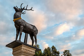 Deer column at the town hall, Magdeburg, Saxony-Anhalt, Germany