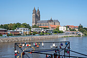 Magdeburg Cathedral, in front of it love locks, Magdeburg, Saxony-Anhalt, Germany