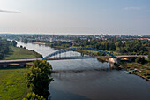 Sternbrücke, connects the city center with the Rotehorn city park, Magdeburg, Saxony-Anhalt, Germany