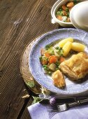 Cordon bleu (veal escalope) with spring vegetables