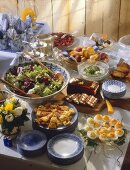 Easter Brunch with Colored Eggs