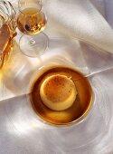 Cream Caramel on Glass Plate