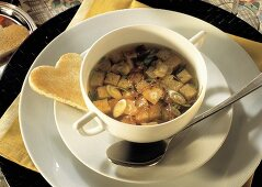 Bread Soup with Beef and Heart-shaped Toast