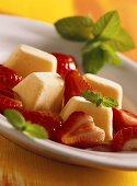 Mango parfait with strawberries