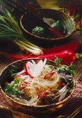 Glass noodle salad with mince, red radishes and chillies
