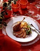 Duck in cherry & honey sauce, broccoli & almonds & rosti
