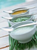 Three yoghurt dips with Roquefort, herbs and mango