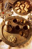 Middle Eastern coffee scene with mocha and pastries (Syria)