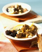 Moroccan tajine with prunes and almonds