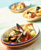 Cajun cooking: gumbo with seafood and chicken