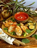 Barbecued chicken breast and courgettes with barbecue sauce