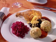 Goose with apple & plum stuffing, bread dumplings & red cabbage