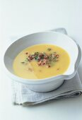Potato soup with bacon and lovage