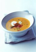 Potato soup with salmon caviare and crème fraiche
