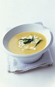 Potato soup with sheep's cheese and sage