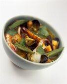 Seafood saffron gumbo (from Cajun cuisine, Louisiana)
