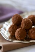 Chocolate Truffles on Gold Dish