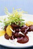 Beetroot salad with orange segments and horseradish