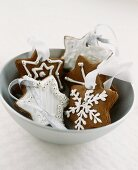 Decorated chocolate biscuits as tree ornament