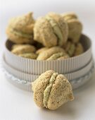 Pistachio macaroons in a gift box