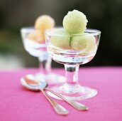 Lime sorbet in a glass