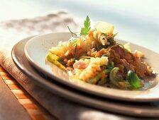 Fusilli and lentil salad