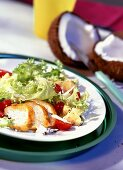 Chicken breast fillet with mixed salad & coconut strips